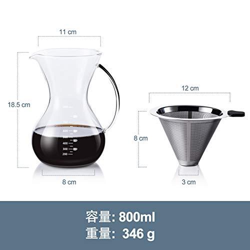 コーヒーサーバー コーヒードリッパー プレゼント Love-KANKEI スポンジブラシ付属 耐熱ガラス ステンレスフィルター 2層メッシュ 紙フィルター不要 電子レンジ可 2-5人分 800Ml