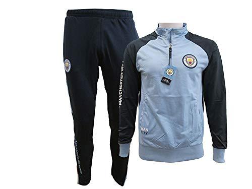 Manchester City F.C. Chándal Pantalones y Chaqueta Original con Licencia Oficial Jumpsuit Tracksuit (S Small)