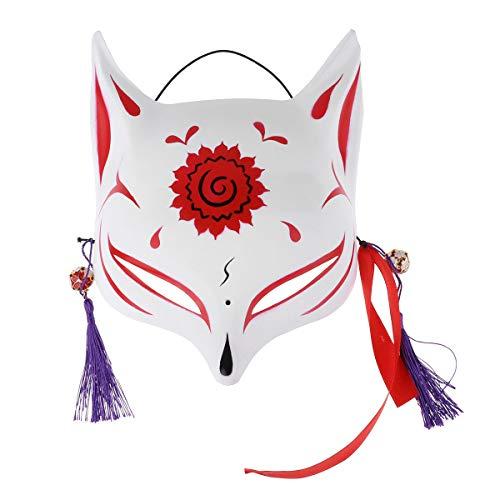 iEFiEL Unisex Fuchs Maske Für Erwachsene Pu Leder Japanische Fox Masken Gesichtsmaske Maskerade Halloween Party Cosplay Accessoires Zubehör Y Rot (Halbgesichts) One Size