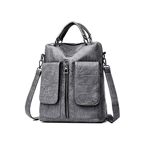 Mochila casual de doble bolsillo para mujer de gran capacidad para la escuela, bolso de cuero para las niñas -  Gris -  33 cm