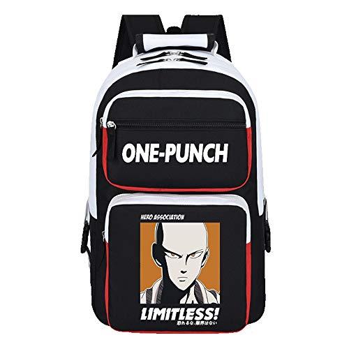 WOONN Mochila Hombre Backpack Niños Y Niñas Adolescentes Mochila Escolar Moda Mochila para Portátil Mochila para Portatil Anime Viaje Negocios Bag Backpack One Punch-Man