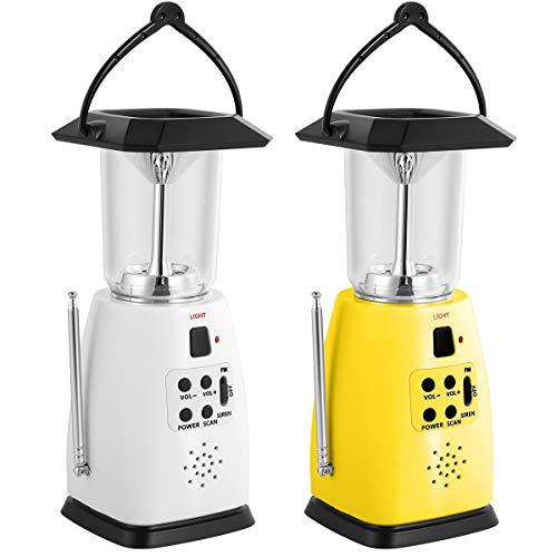 Solar Power Panel/handkraan Dynamo/USB/batterij aangedreven outdoor camping lamp handig LED noodlicht 2 helderheid met FM-radio - USB 5 V telefoon oplader (AA-batterijen niet inbegrepen) wit