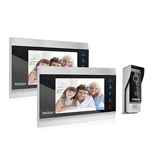 TMEZON Video-Türsprechanlage, Türsprechanlage, Türeingangssystem mit 17,8 cm (7 Zoll) 2-Monitor, 1 Kamera für 1-Familienhaus, Touch-Taste, Nachtsicht, unterstützt automatische Schnappschuss/Aufnahme