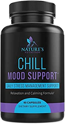 Stress Support Supplement 1000mg - Natural Herbal Formula for Calm, Positive Mood, Relaxation - Made in USA - with Ashwagandha, Niacin, L-Theanine, Rhodiola Rosea & 5-HTP - 60 Capsules