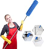Microfiber Duster for Cleaning with Extension Pole(Stainless Steel), Bendable, Washable, Lint Free Duster for Cleaning Ceiling Fan, Furniture, Cobweb, Car, Computer
