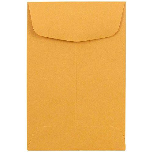 JAM PAPER #4 Coin Business Commercial Envelopes - 3 x 4 1/2 - Brown Kraft Manila - 50/Pack