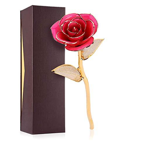 Dioche - Rosa artificial de oro de 24 quilates, diseño de rosas de amor eterno, el mejor regalo romántico para ella/novia/mamá/padres/abuela/profesora (rosa)