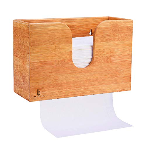 paper towel dispenser for home bathrooms Cozee Bay Bamboo Paper Towel Dispenser, Paper Towel Holder for Kitchen Bathroom Toilet of Home and Commercial, Wall Mount or Countertop for Multifold, C Fold, Z fold, Trifold Hand Towels