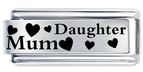 Superlink Mum & Daughter Hearts Etched Italian Charm Fits all 9mm Italian Style Charm Bracelets