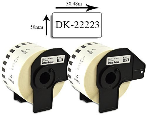 Bubprint 2 Etiketten kompatibel für Brother DK-22223 DK 22223 für P-Touch QL 500 550 570 700 710W 720NW 800 810W QL820NWB 1050 1060N 50mm x 30,48m Set