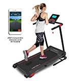 TechFit MT90 Tapis de Course Motorisé Electrique Pliable, 16 Programmes Internes, 2.5 CV, Surface de Roulement 1000x360mm, Filtre EMC, Support de Tablette, Bluetooth