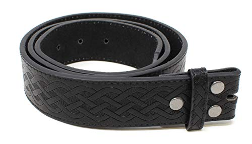 Leather Belt Strap with Embossed Celtic Knot Weave Pattern 1.5' Wide with Snaps (Black-L)