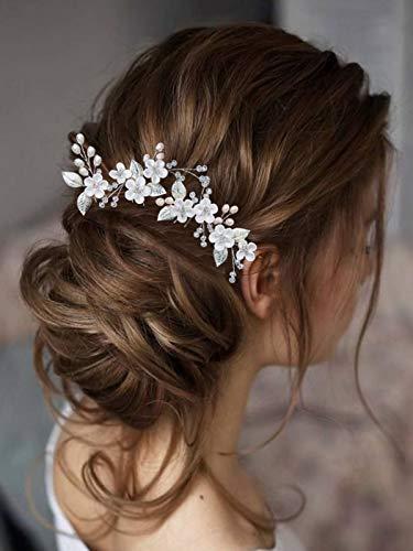 Mayelia - Fermaglio per capelli da sposa con perle argentate, per donne e ragazze,...