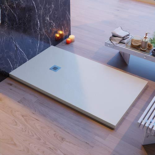 Piatto Doccia Elegance Resina Mineral Marmo Crema Sabbia Pietra Ardesia, 90x130