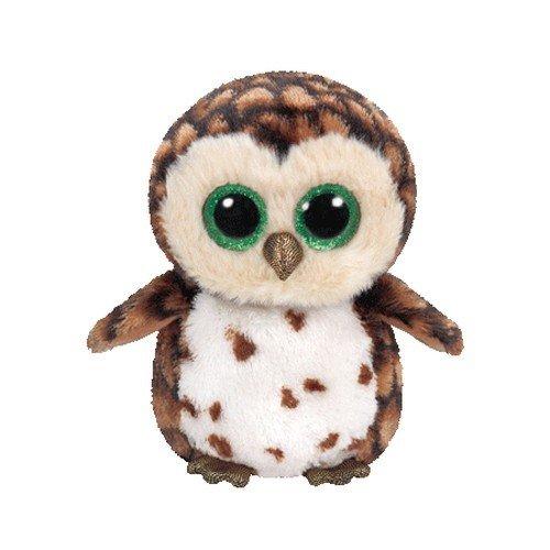 Carletto Ty 37174 Sammy Owl Ty 37174-Sammy mit Glitzeraugen, Beanie Boo's Eule, 15 cm, Braun/Weiß