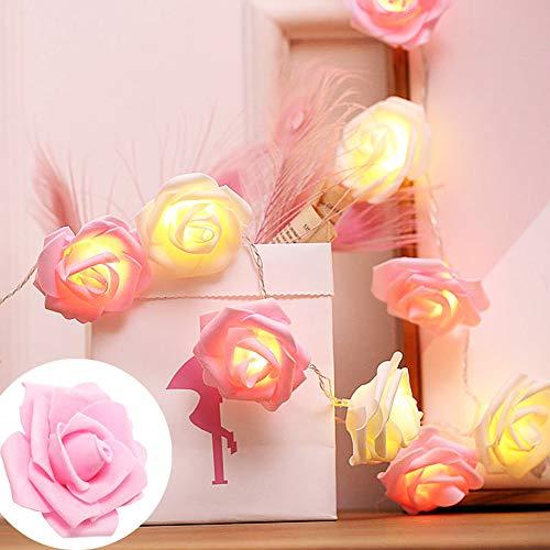 ZTHHS LED Rosas Flores lucesCadena de Pilas, Guirnalda de Luces Hadas al Aire Libre, para la Fiesta cumpleaños la Fiesta en Casa la Boda Decoraciones Interior al Aire Iibre Rose(Rosa, 40 LED)