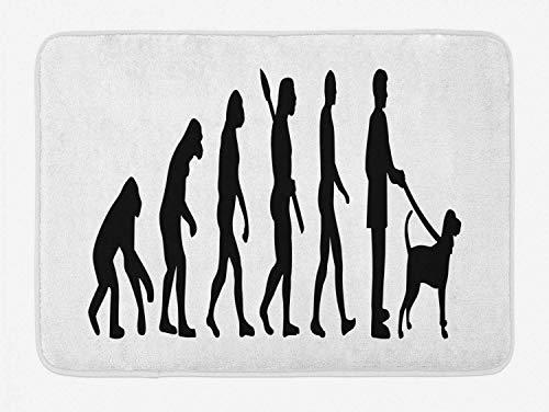 LiminiAOS Evolution badmat, monochromatische silhouet stijl illustratie van aap tot man met huisdier, pluche badmat met antislip rug, antraciet grijs