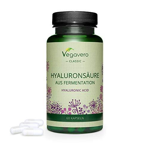 Ácido Hialurónico Vegavero® | La Dosis más Alta: 600 mg | 100% Libre de Aditivos & Vegano | 60 Cápsulas | 800-1500 kDa | Hidratante facial + Articulaciones