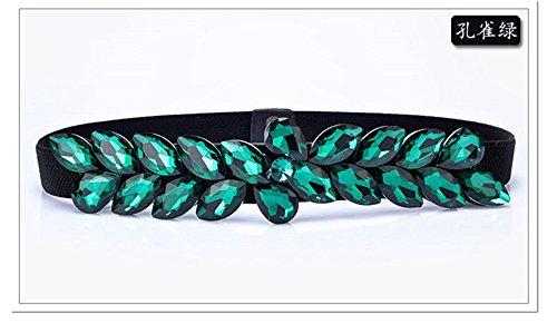LONFENN Damen Imitation Diamond elastischer Gürtel Accessoires Kleid gürtel Gürtel Gürtel, grün, 70 cm Geburtstage Festivals Mütter VäTER Geschenke zum Valentinstag