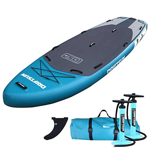 Driftsun Orka 12 Foot Extra Wide Multi Person Inflatable Paddle Board Stand Up SUP Package, Room for Gear, with Two High Pressure, High Volume Pumps, 12 Feet Long, 4.5 Feet Wide, Teal