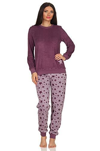 Damen Frottee Pyjama Schlafanzug mit Bündchen –Sterne als Motiv - auch in Übergrößen 93020, Farbe:Beere, Größe2:48/50