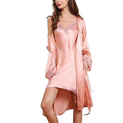 E-girl Damen Seide Nachtwäsche Nachthemd 100% Seide Spitze Seidenkleid Langarm S5522,Rosa-2 Pcs,M