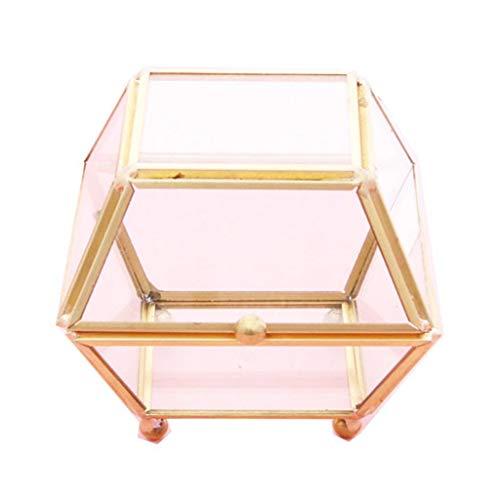 Mengmengda Schmuckkästchen mit vier Kegeln, transparent, goldfarben, für Hochzeitsringe