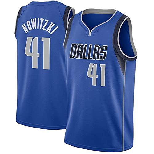 MMWW Dirk Nowitzki Dallas Mavericks # 41 Jersey - Jersey De Baloncesto Jerseys De Verano Baloncesto Uniforme Bordado Tops para Hombres,Azul,L