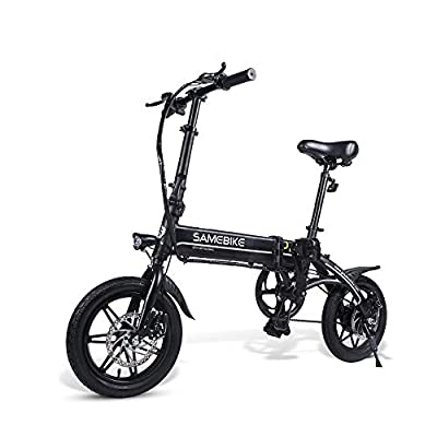 SAMEBIKE 14 inch 250W Folding Electric Bikes for Adults with Removable 36V 7.5AH Lithium Battery Electric Bicycles (Black)