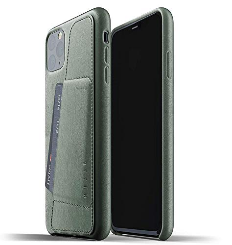 Mujjo Full Leather Wallet Case for Apple iPhone 11 Pro Max | 2-3 Card Holder Pocket | Premium Soft Supple Leather, Unique Natural Aging (Slate Green)