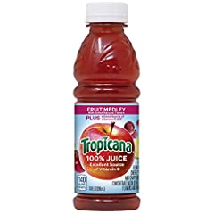 Contains fifteen (15) 10 oz. bottles of Tropicana Fruit Medley Juice Tropicana 100% Fruit Medley Juice is the perfect beverage to pack in lunches or drink on the go Add Tropicana Fruit Medley Juice to your daily routine for a delicious and convenient...