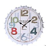 Reloj de pared - 14 Pulgadas Estilo creativo de la vendimia Imprimir un reloj de silencio antiguos del reloj de la cocina del hogar Oficina de metal de hierro forjado cerveza Tapa reloj de pared de mo