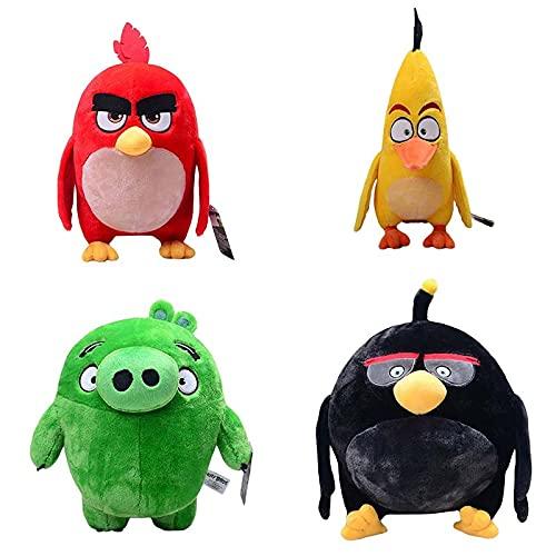 qinhuang 4 Piezas Divertidas Angry Birds De Peluche De Juguete De 18 Cm, Pájaro De Dibujos Animados Chuck Leonard Bomb, Muñeco De Peluche Suave, Regalo Encantador