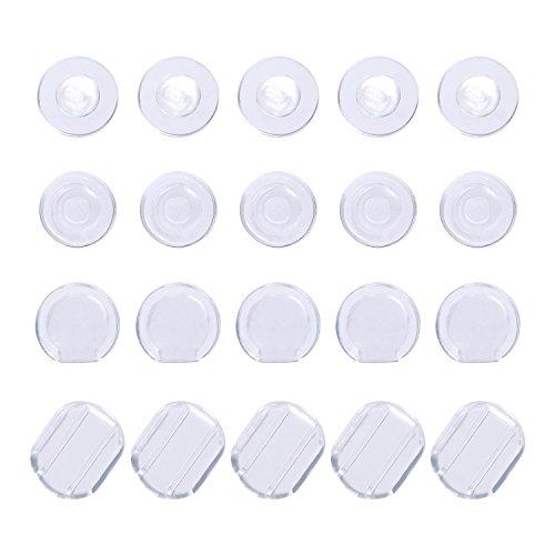 BBTO 100 Stück Ohrklemmer Ohrring Kissen Silikon Ohrring Rücken für Ohr Clip, 4 Formen, Klar