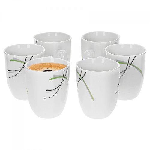 6er Set Kaffeebecher Donna 33cl - Kaffeetasse aus weißem Porzellan mit Linien- Dekor in schwarz, grau und grün