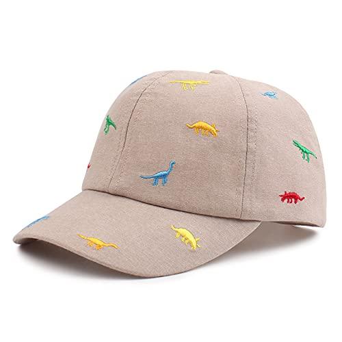 XIAOHAWANG Dinosauro Baby Summer Hat Cotton Sun Kids Berretti da baseball Ragazzi Ragazze(Beige,2-5 anni)
