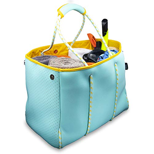 Nordic By Nature Large Designer Beach Bag Tote | Versatile Travel Tote Bag Perfect For Boat, Beach, Pool & Gym Bag | Zippered Pockets | Stretchy Room For Towels, Toys And Lotion |(Turquoise/Yellow)
