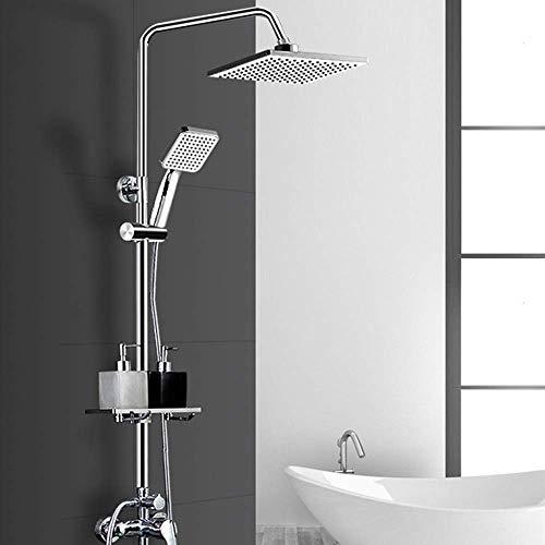 KANJJ-YU Set de ducha del baño principal Baño de cobre puro del grifo de la ducha del termostato cuatro hermosas práctica Cromo