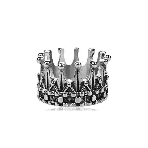 CRYPIN Anillo de Corona de Acero Inoxidable de Titanio, Anillo de Plata para Parejas Masculinas y Femeninas, Accesorios a Juego de Primera Mano