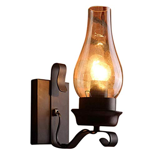 WY-YAN Lámpara de la Vendimia en rústica Pared de Cristal y luz del Humor lámpara Decorativa for el Dormitorio (no Contiene los bulbos)