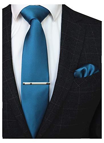 JEMYGINS Herren Hochzeit Krawatten und Einstecktuch krawattenklammer Set einfarbig in verschiedenen Farben, Peacock Blau, M