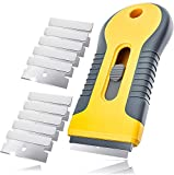 Gebildet Razor Blade Scraper with 10pcs Carbon Steel Blades for Removing Vinyl Decals Stickers &Glue from Cars, Boats and Other Delicate Surfaces