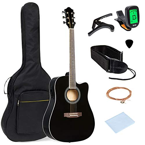 Best Choice Products 41in Full Size Acoustic Electric Cutaway Guitar Set w/Capo, E-Tuner, Gig Bag, Strap, Picks - Black
