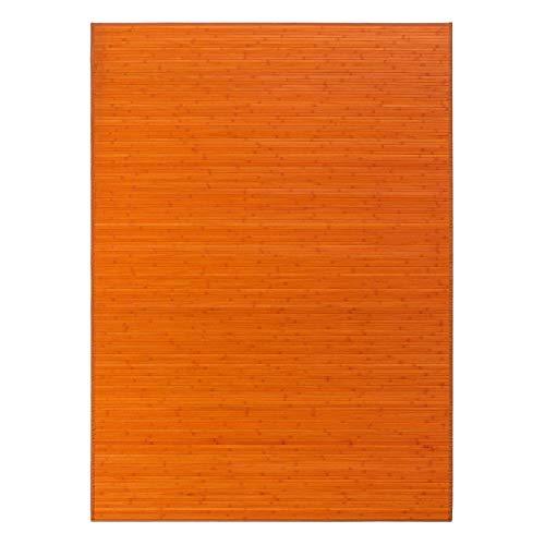 Alfombra para salón de bambú (180 x 250 cm, Naranja)