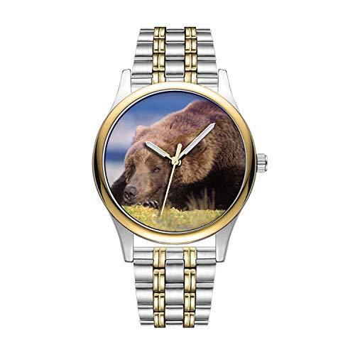 Personalisierte Minimalistische Braunbär, Ursus arctos, Grizzly-Bär, Ursus 8 Armbanduhren Goldene Fashion wasserdichte Sportuhr