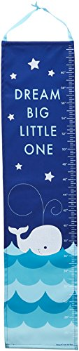 Whale on Ocean Blue Children's Canvas Growth Chart with Stickers