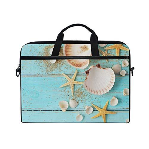 HaJie Laptop Bag Ocean Marine Seashell Starfish Animal Computer Case 14-14.5 in Protective Bag Travel Briefcase with Shoulder Strap for Men Women Boy Girls