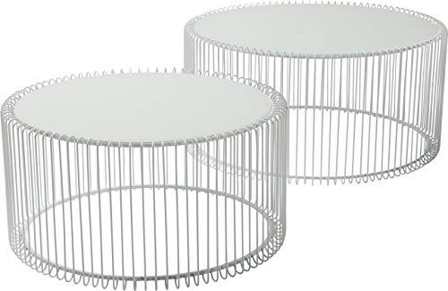Kare Design Couchtisch Wire White 2er Set, runder, moderner Glastisch, großer Beistelltisch, Kaffeetisch, Nachttisch, Weiß (H/B/T) 30,5xØ60cm & 33,5xØ69,5cm