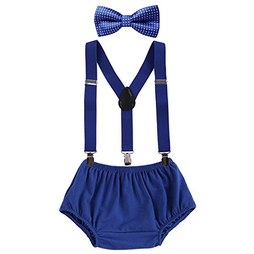 Baby Boys Cake Smash Clothes Diaper Suspenders Pants Bow Tie 3PCS Set First 1st 2nd Birthday Outfit for Photo Prop Party Dark Blue + Polka Dots 3-24 Months