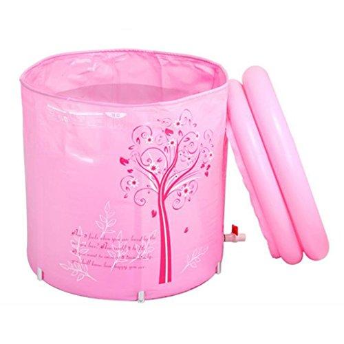 Pliage en plastique Baignoire Alliage Support Matelassé Rembourré Adulte Bain Baril Durable Dirt/réglable en hauteur/Facile à Plier Bleu, Rose (70 * 70cm) (Couleur : Pink)